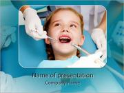 Little girl sitting in the dentists office PowerPoint Templates