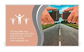 Hands button safety belt on the background of the road Business Card Template