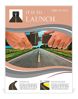 Hands button safety belt on the background of the road Flyer Template