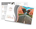 Hands button safety belt on the background of the road Postcard Template