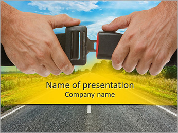 Hands button safety belt on the background of the road PowerPoint Template