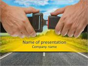 Hands button safety belt on the background of the road PowerPoint Templates