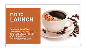 Coffee cup and beans on a white background. Business Card Template