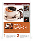 Coffee cup and beans on a white background. Flyer Template
