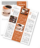 Coffee cup and beans on a white background. Newsletter Template