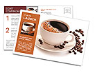 Coffee cup and beans on a white background. Postcard Templates