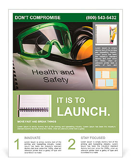 health and safety register with goggles and earphones flyer template