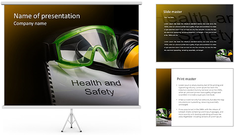 Health and safety register with goggles and earphones PowerPoint – Safety Powerpoint Template