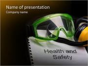 Health and safety register with goggles and earphones PowerPoint Templates
