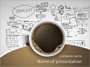 Cup of coffee on background of business strategy PowerPoint Templates