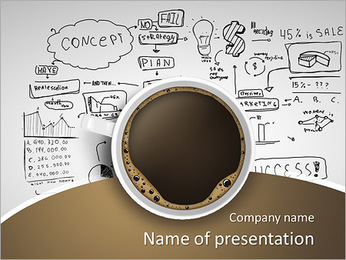 Cup of coffee on background of business strategy PowerPoint Template