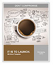 Cup of coffee on background of business strategy Word Template