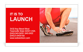 Broken twisted ankle - running sport injury. Male runner touching foot in pain due to sprained ankle Business Card Template