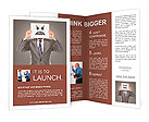 Businessman covering his face with angry mask on gray background Brochure Templates