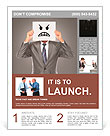 Businessman covering his face with angry mask on gray background Flyer Template