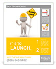 "3d people - man, person with a ""safety first"" sign in hand. Poster Template"
