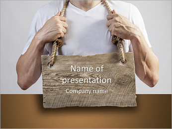 A man with a wooden board on the chest PowerPoint Template