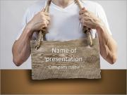 A man with a wooden board on the chest PowerPoint Templates