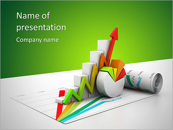3d business growth graph PowerPoint Template
