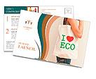 "Big flax eco bag ""I love eco"" Postcard Template"
