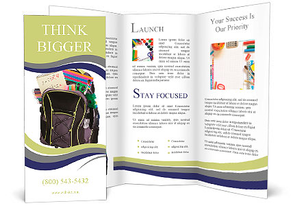 Schoolbag With Supplies For Education Brochure Template Design Id