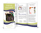 Schoolbag with supplies for education Brochure Template
