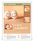 Two eggs with drawn smiley faces Flyer Template
