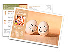 Two eggs with drawn smiley faces Postcard Template