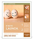 Two eggs with drawn smiley faces Poster Template