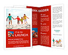 Photo of happy family running down the beach on summer Brochure Template