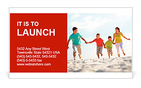 Photo of happy family running down the beach on summer Business Card Template