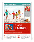 Photo of happy family running down the beach on summer Flyer Template