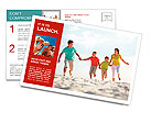 Photo of happy family running down the beach on summer Postcard Template