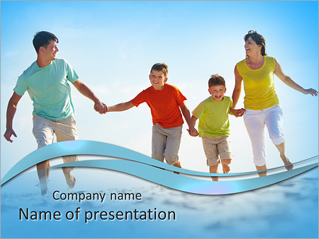 Photo Of Happy Family Running Down The Beach On Summer PowerPoint Templates