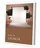 Photo studio equipment. Space for text. 3d Presentation Folder