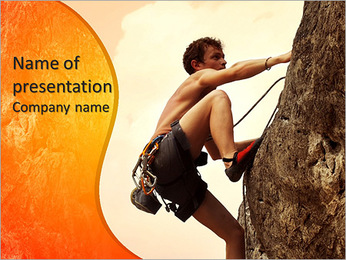 Young man climbing on a limestone wall with wide valley on the background PowerPoint Template