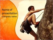 Young man climbing on a limestone wall with wide valley on the background PowerPoint Templates