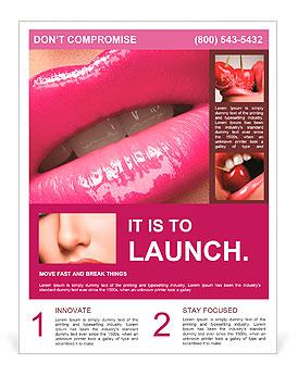 鮮やかなピンクのファッション光沢のあるメイクアップと女性の唇のクローズアップ。マクロマゼンタリップグロスメイクアップ チラシ