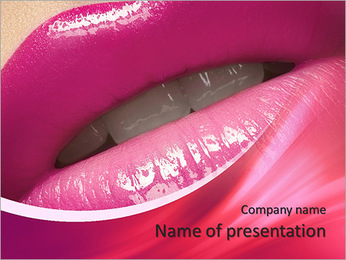 Close-up of woman's lips with bright fashion pink glossy makeup. Macro magenta lipgloss make-up PowerPoint Template
