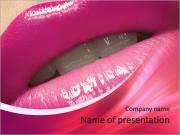 Close-up of woman's lips with bright fashion pink glossy makeup. Macro magenta lipgloss make-up PowerPoint Templates