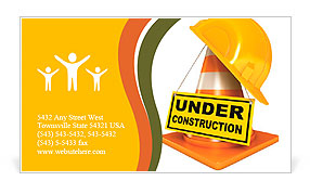 Helmet for builder worker. Traffic cones. Under construction sign. Icon isolated on white background Business Card Template