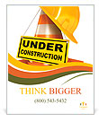 Helmet for builder worker. Traffic cones. Under construction sign. Icon isolated on white background Poster Template