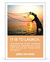 Throwing fishing net during sunrise, Thailand Ad Template