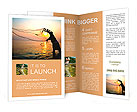 Throwing fishing net during sunrise, Thailand Brochure Template