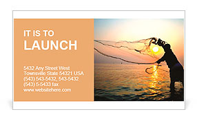 Throwing fishing net during sunrise, Thailand Business Card Template