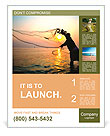 Throwing fishing net during sunrise, Thailand Poster Template