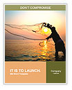 Throwing fishing net during sunrise, Thailand Word Template