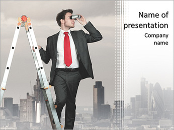 Businessman looking for new business PowerPoint Template