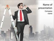 Businessman looking for new business PowerPoint Templates