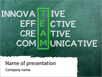 Chalk drawing - TEAM: innovative ,effective,creative ,communocative PowerPoint Template